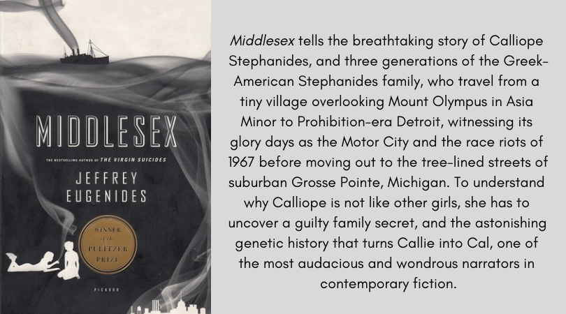 Book cover for Middlesex by Jeffrey Eugenides. Middlesex tells the breathtaking story of Calliope Stephanides, and three generations of the Greek-American Stephanides family, who travel from a tiny village overlooking Mount Olympus in Asia Minor to Prohibition-era Detroit, witnessing its glory days as the Motor City and the race riots of 1967 before moving out to the tree-lined streets of suburban Grosse Pointe, Michigan. To understand why Calliope is not like other girls, she has to uncover a guilty family secret, and the astonishing genetic history that turns Callie into Cal, one of the most audacious and wondrous narrators in contemporary fiction.