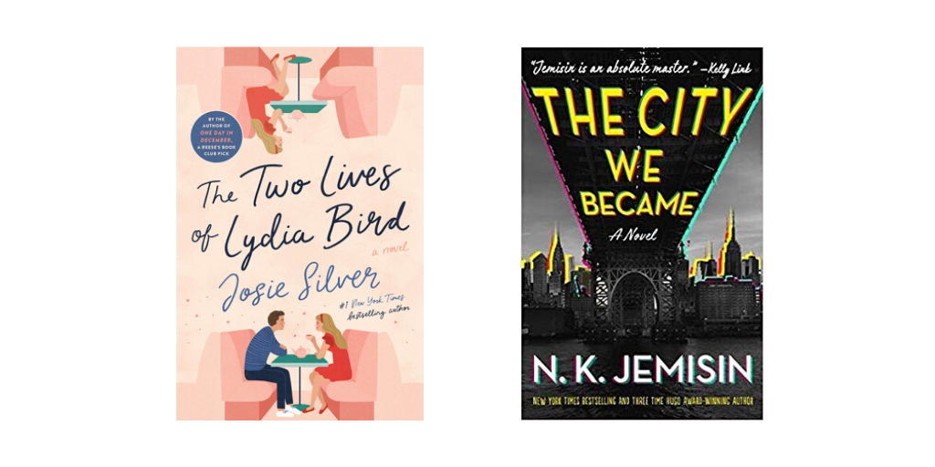 Book covers for The Two Lives of Lydia Bird and The City We Became