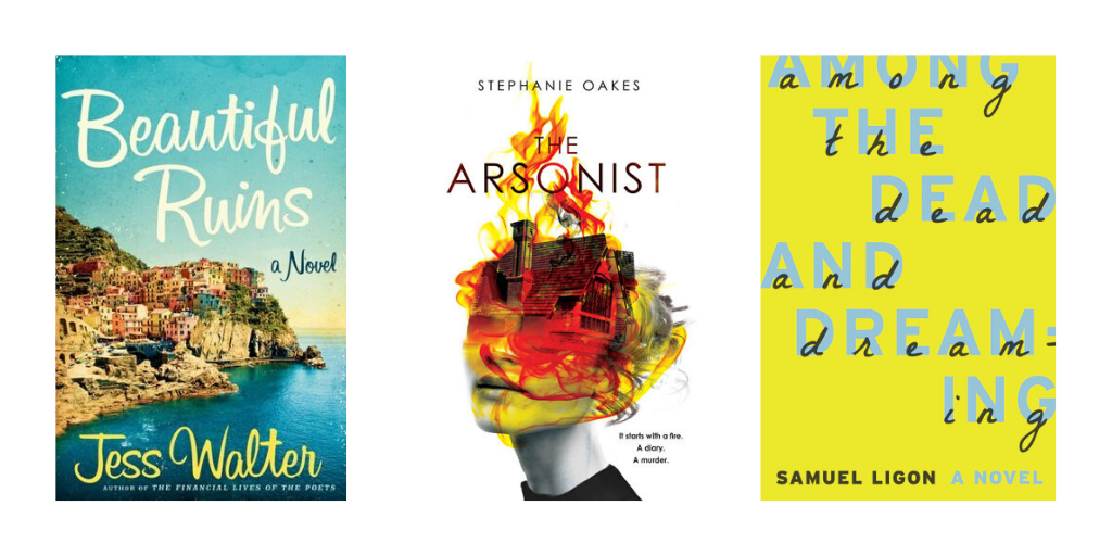 Book covers for Beautiful Ruins, The Arsonist, and Among the Dead and Dreaming