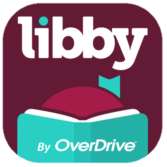 The OverDrive logo showing a cartoon woman reading a book